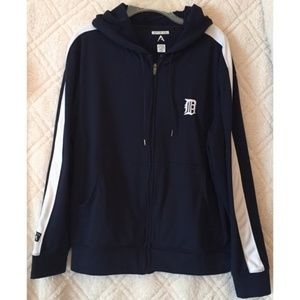Detroit Tigers Blue and White Zipper Hoodie